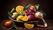 still life with vintage wooden plate full of citrus fruits and fresh mixed fruit