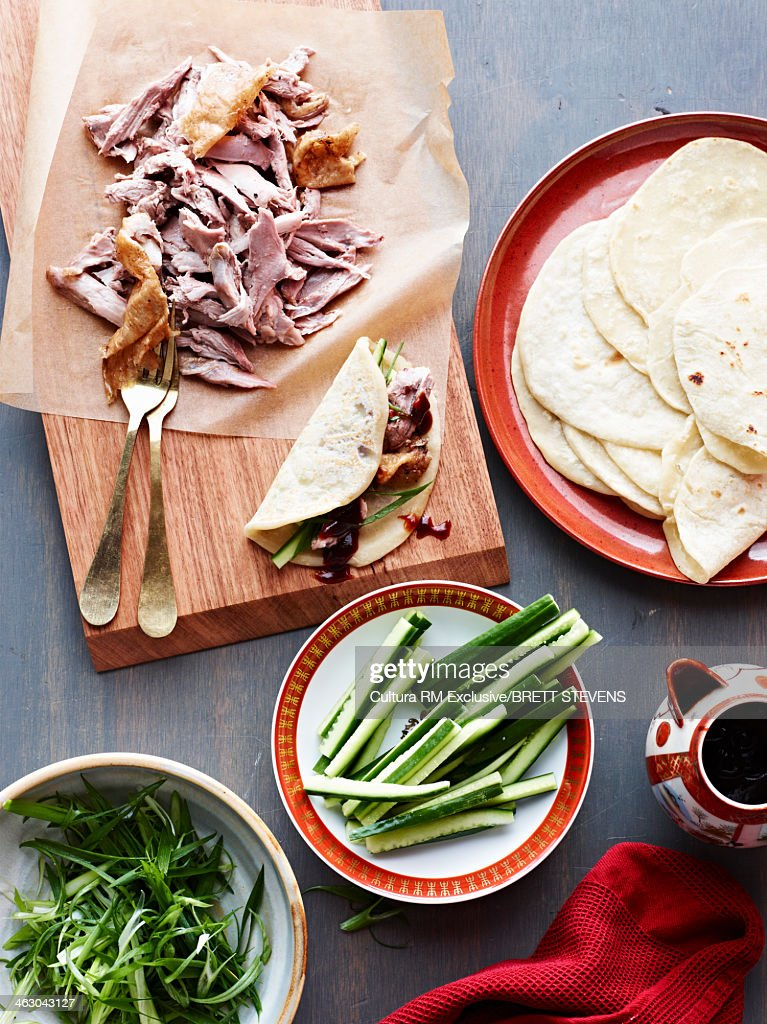 Still life ingredients for five spice duck pancakes : Stock Photo