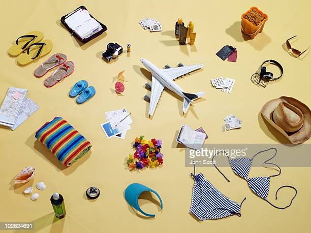 Still life items that represent a family holiday