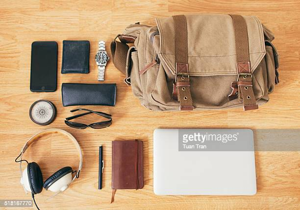 Still life items that represent traveling
