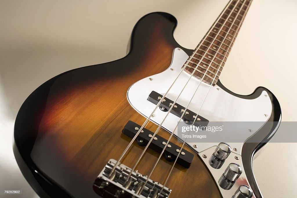Still life of a bass guitar