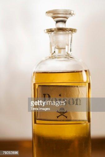 Still life of a bottle of poison