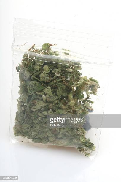 A still life of a 'dime bag' of marijuana