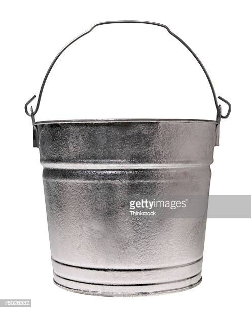 Still life of a silver bucket.