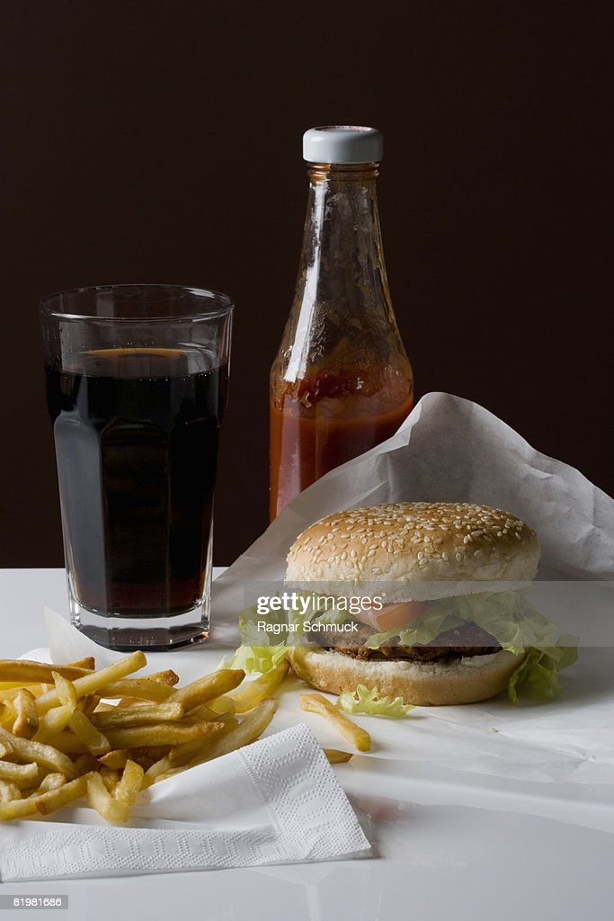Still life of a stereotypical American fast food meal : Stock Photo