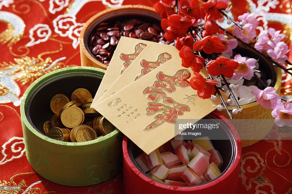 Still life of Chinese new year goodies : Stock Photo