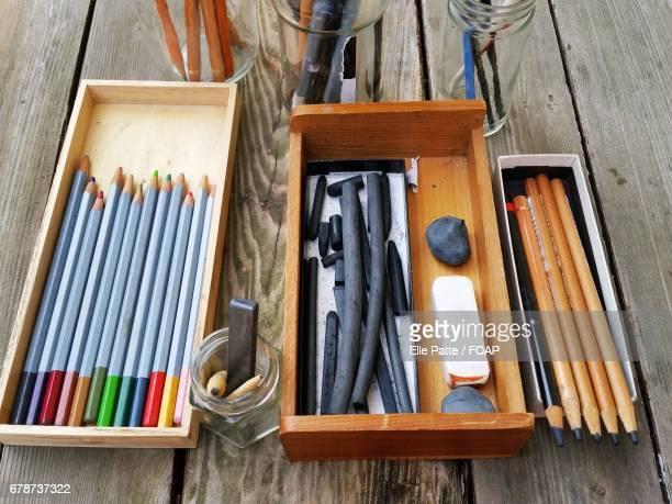 Still life of drawing equipment
