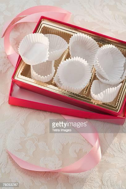 Still life of empty box of chocolates