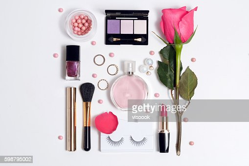 Still life of fashion woman. Set of decorative cosmetic : Stock Photo