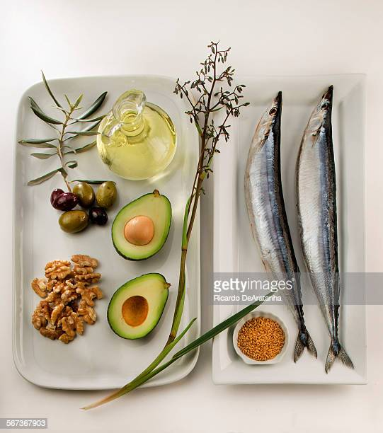 LOS ANGELES CA MARCH 02 2015 Still life of good fats photographed in the Los Angeles Times studio March 02 2015 CW from top Lt Olive oil in Olives...