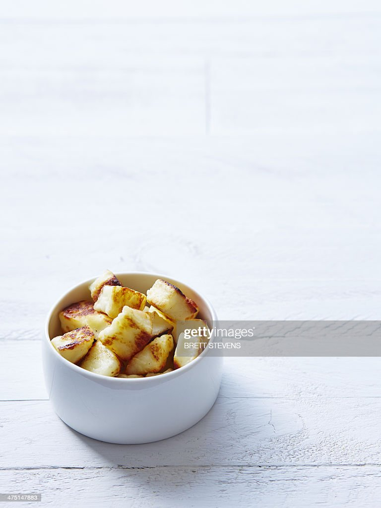 Still life of haloumi croutons in a bowl : Stock Photo
