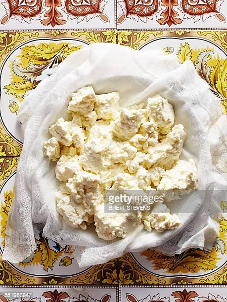 Still life of homemade Italian ricotta in bowl