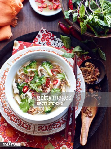 Still life of hu tieu mi di hero, vietnamese meal