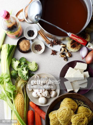 Still life of hu tieu mi di, raw ingredients for vietnamese meal
