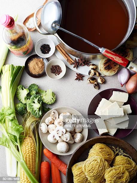 Still life of hu tieu mi di, raw ingredients for vietnamese meal