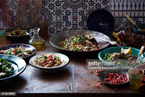 Still life of middle eastern starter selection