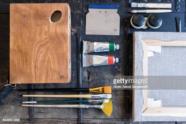 Still life of painting supplies