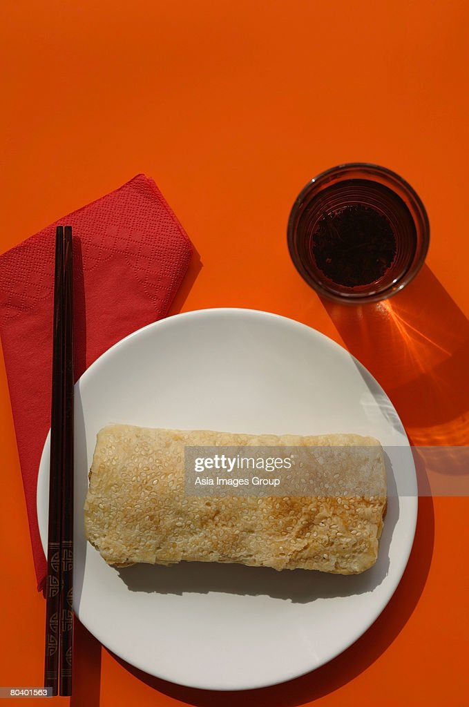 Still life of pastry with pork floss and egg yolk