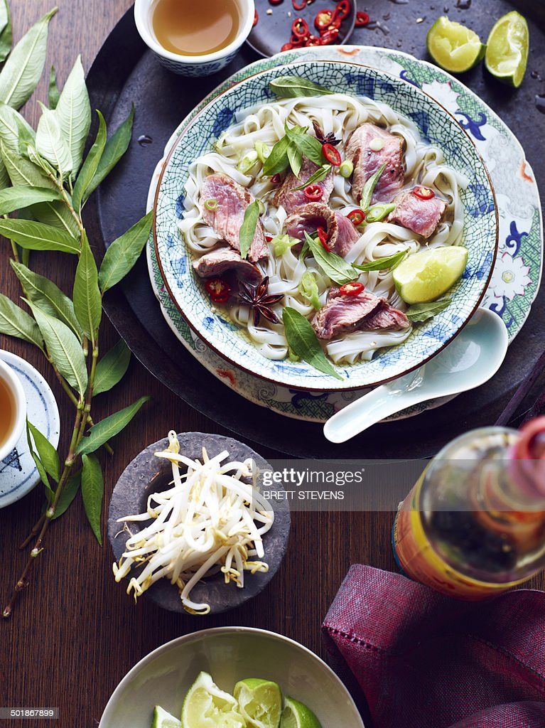 Still life of pho bo hero, vietnamese meal