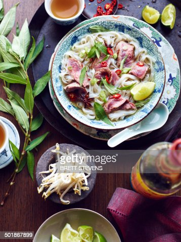 Still life of pho bo hero, vietnamese meal
