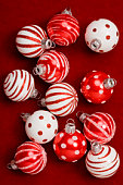 Still life of red and white ornaments