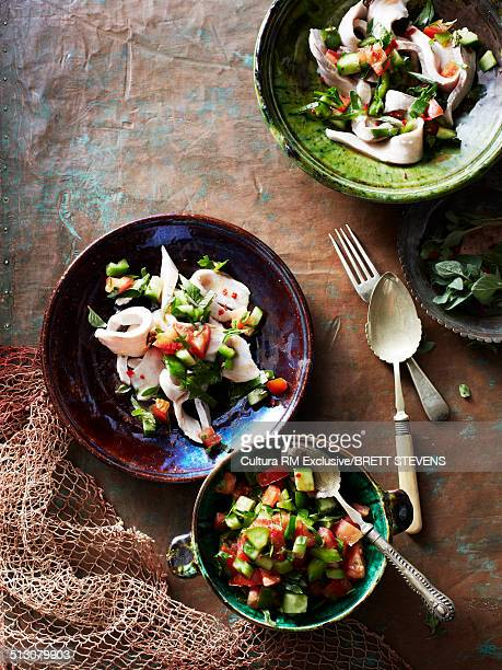 Still life of snapper ceviche with salad