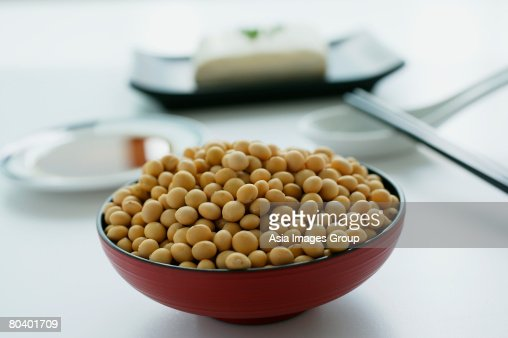 Still life of soya beans and sauce : Stock Photo