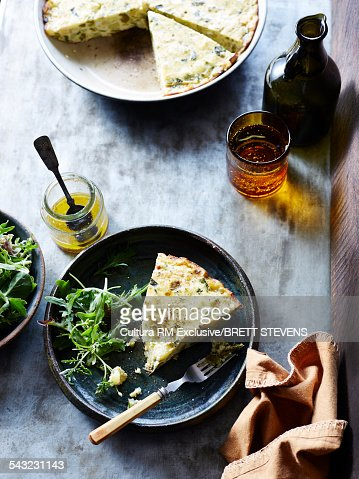 Still life of spanish tortilla and salad