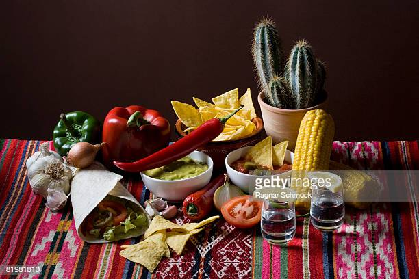 Still life of stereotypical Mexican food and ingredients