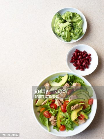 Still life of tuna salad with broccoli and kidney beans