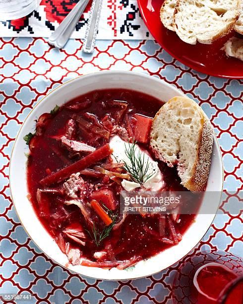 Still life of Ukrainian borscht with bread