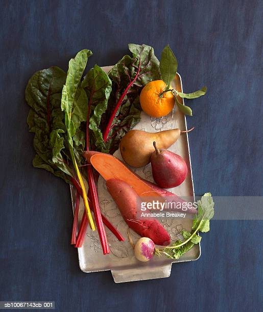 Still life of vegetables on tray