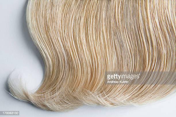 Still life of wavy blond hair on white background.