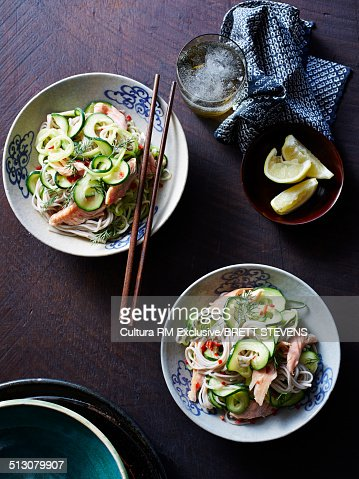 Still life of zucchini pasta and soba smoked trout