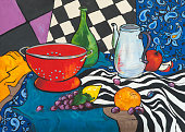 Still life oil painting on canvas in the style of Fauvism.