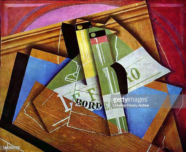 Still life painting with Bordeux bottles Painted in the SyntheticCubist style by Juan Gris Completed in 1915 Oil on canvas Juan lived between 23...
