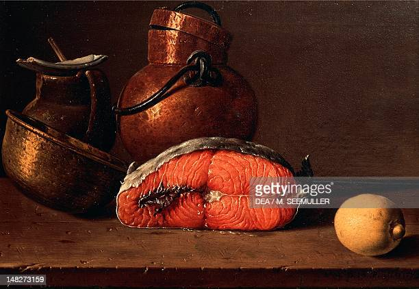 Still life showing salmon lemon and three vases by Luis Melendez oil on canvas 42x62 cm Madrid Museo Del Prado