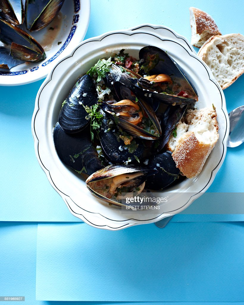Still life with a bowl of tamarind mussels