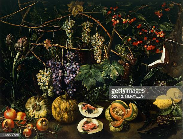 Still life with a copper jug roses grapes an elderflower citrus and apples by an unknown Florentine artist 17th century Florence Palazzo Pitti...