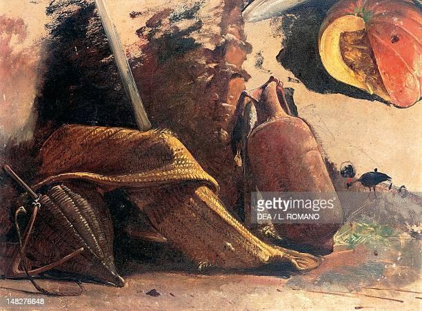 Still life with a pumpkin ca 1844 by Giacinto Gigante watercolor 27x23 cm Naples Museo Nazionale Di Capodimonte