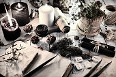 Magic gothic ritual. Wicca, esoteric and occult background with vintage objects