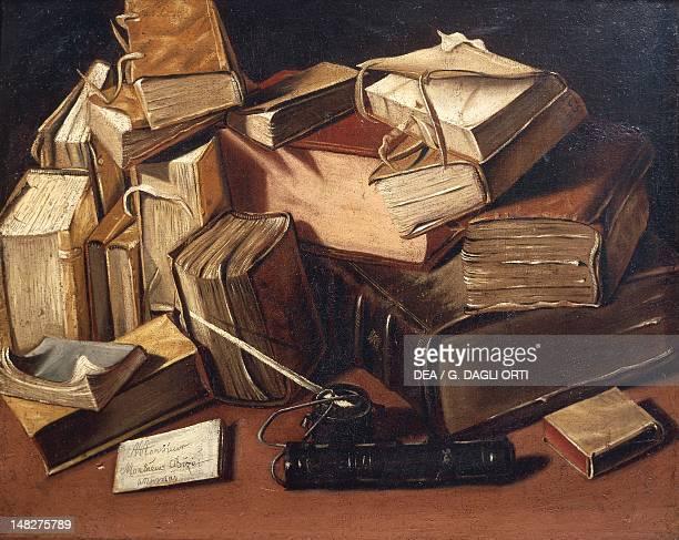 Still life with books by Charles Emmanuel Bizet d'Annonay BourgEnBresse Musée De L'Ain