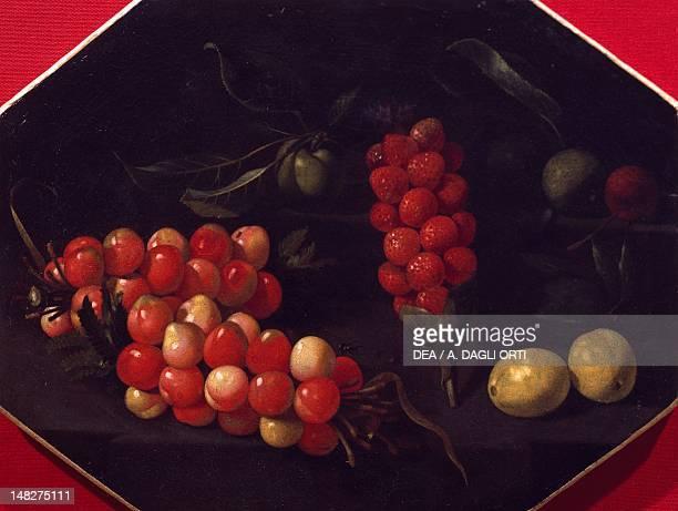 Still life with cherries and strawberries by Luca Forte Naples Museo Nazionale Della Ceramica 'Duca Di Martina'