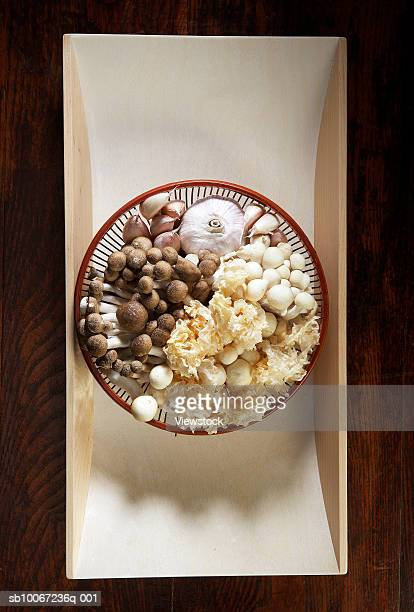 Still life with chinese mushrooms and garlic