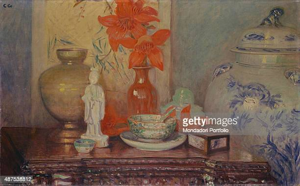 Still Life with Chinese Vase by Galileo Chini 20th Century oil on canvas5 x 85 cm Italy Veneto Venice C Pesaro International Gallery of Modern Art...
