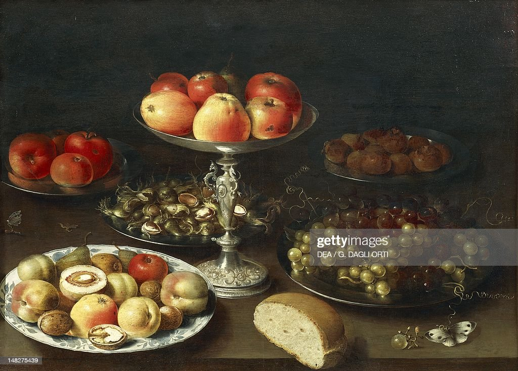 Still life with fruit and bread by Osias Beert oil on panel Grenoble Musée De Grenoble