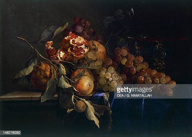 Still life with fruit and objects by Willem van Aelst Florence Palazzo Pitti Galleria Palatina