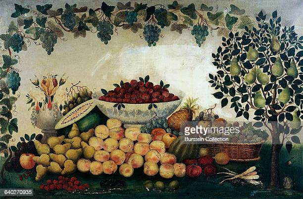 Still Life with Fruit and Vegetables by Issac W Nuttmann