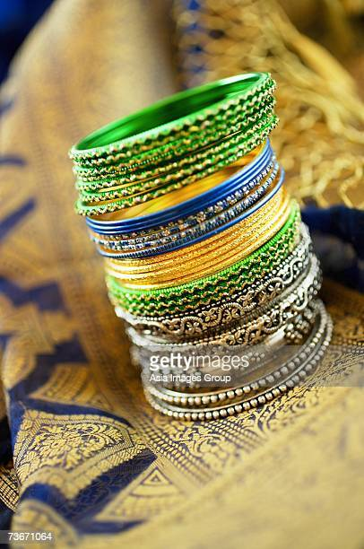 Still life with Indian bangles and sari