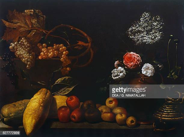 Still life with jug of copper roses grapes elder flowers citrus and apples by Unknown artist from Florence Italy 17th century Florence Palazzo Pitti...